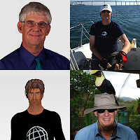 A Composite of four photos of Chris Johnson - Professional, sailing, Second Life Avatar, and Costa Rica